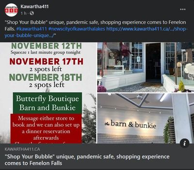 "November 13: ""Shop Your Bubble"" unique, pandemic safe, shopping experience comes to Fenelon Falls"