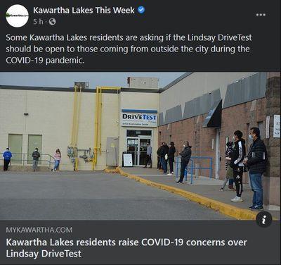 November 15: Kawartha Lakes residents raise COVID-19 concerns over Lindsay DriveTest