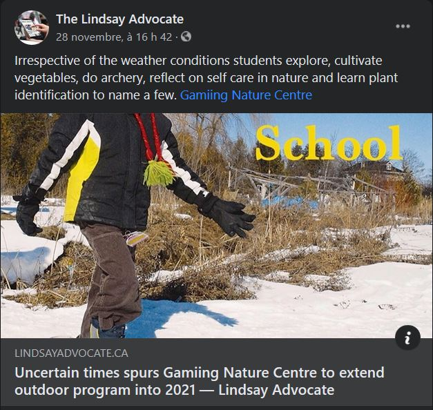 November 28: Uncertain times spurs Gamiing Nature Centre to extend outdoor program into 2021