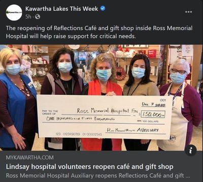 December 7: Lindsay hospital volunteers reopen café and gift shop