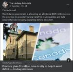 December 16: Province gives $1 million more to city to help it avoid deficit
