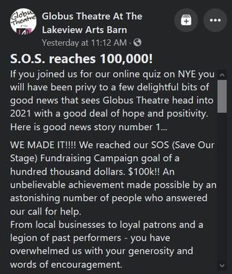 January 7: Globus Theatre reaches $100,000 with Save Our Stage (SOS) fundraiser