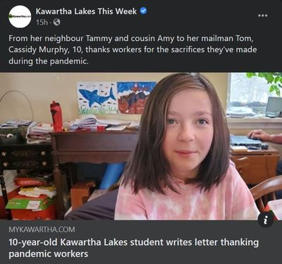 January 7: 10-year-old Kawartha Lakes student writes letter thanking pandemic workers