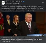 January 8: Ontario will run out of COVID-19 vaccine by 'end of next week' - Ford