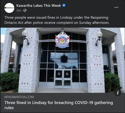 January 11: Three fined in Lindsay for breaching COVID-19 gathering rules