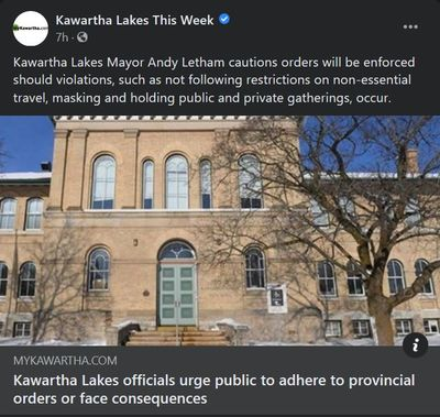 January 12: Kawartha Lakes officials urge public to adhere to provincial orders or face consequences