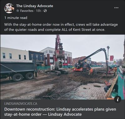 January 14: Downtown reconstruction - Lindsay accelerates plans given stay-at-home order