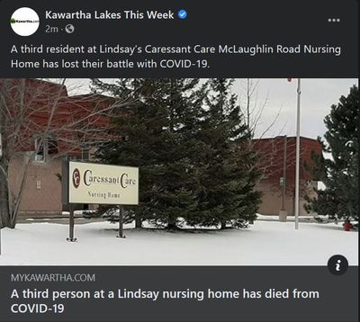 January 26: A third person at a Lindsay nursing home has died from COVID-19