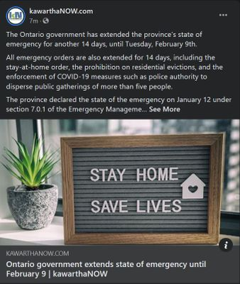 January 26: Ontario government extends state of emergency until February 9