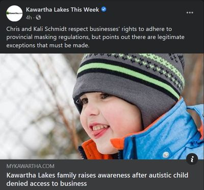January 27: Kawartha Lakes family raises awareness after autistic child denied access to business