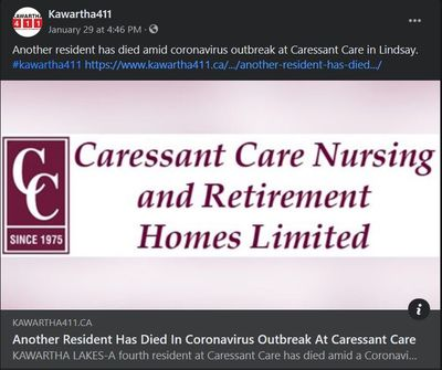 January 29: Another resident has died in coronavirus outbreak at Caressant Care