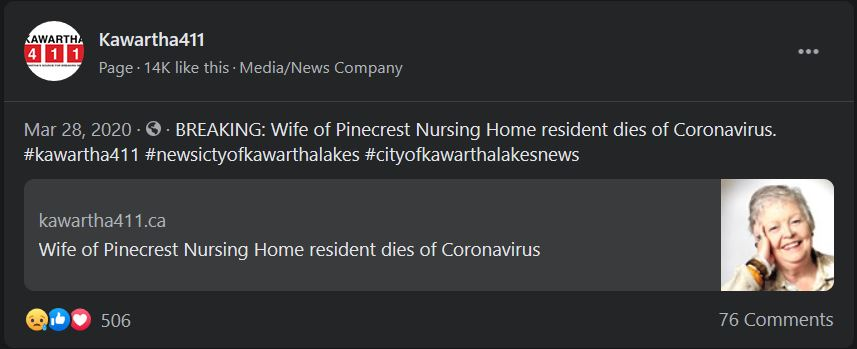 March 28: Wife of Pinecrest Home resident dies of Coronavirus