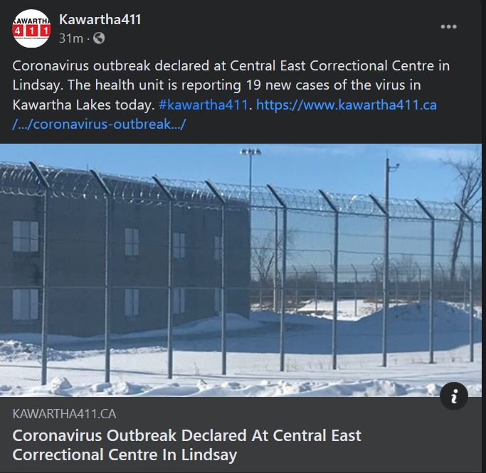 February 1: Coronavirus outbreak declared at Central East Correctional Centre in Lindsay
