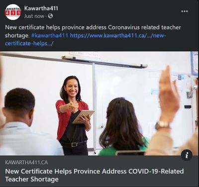 February 1: New certificate helps province address COVID-19-related teacher shortage