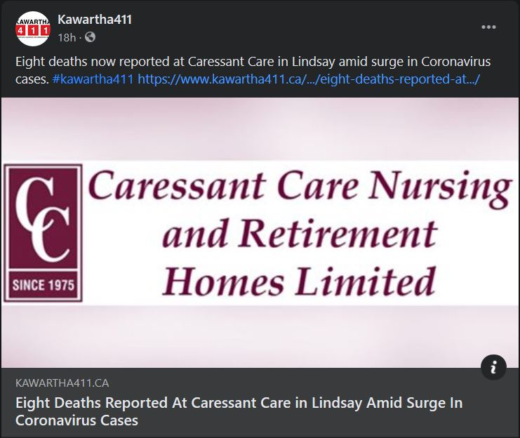 February 2: Eight deaths reported at Caressant Care in Lindsay amid surge in coronavirus cases