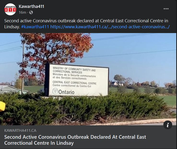 February 2: Second active coronavirus outbreak declared at Central East Correctional Centre in Lindsay