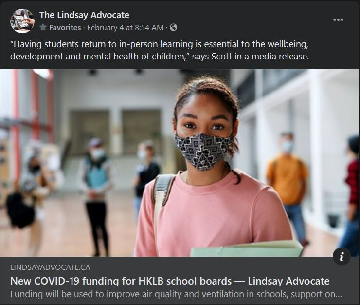 February 3: New COVID-19 funding for HKLB school boards