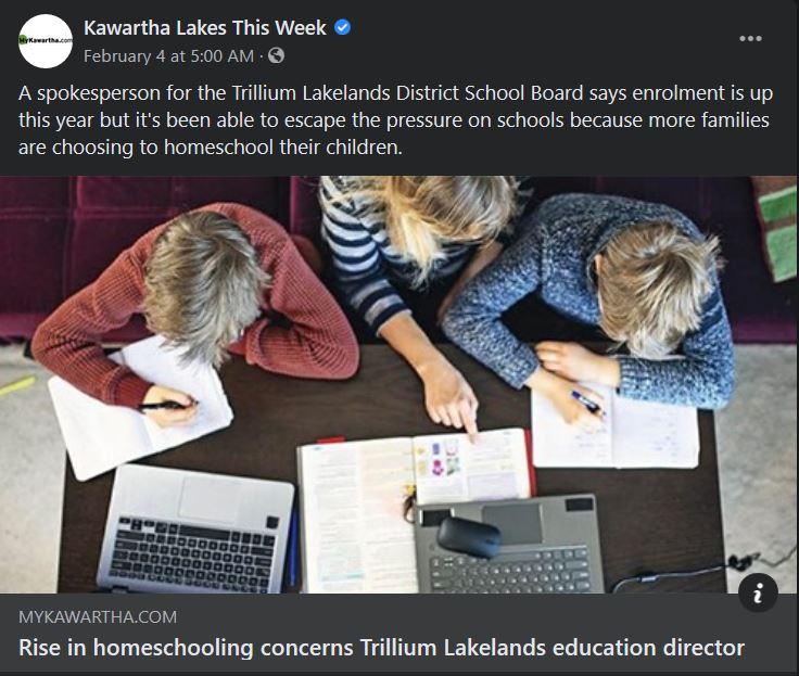 February 3: Rise in homeschooling concerns Trillium Lakelands education director