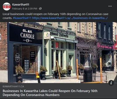 February 8: Businesses in Kawartha Lakes could reopen on February 16th depending on coronavirus numbers