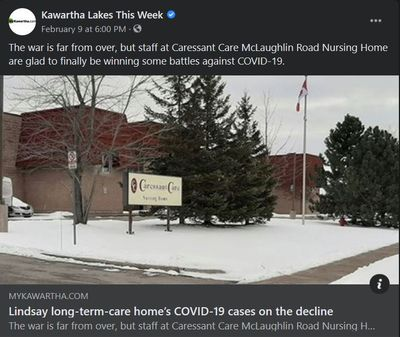 February 9: Lindsay long-term-care home's COVID-19 cases on the decline