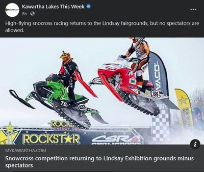 February 11: Snowcross competition returning to Lindsay Exhibition grounds minus spectators