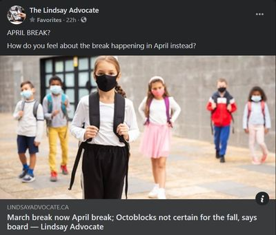 February 11: March break now April break; Octoblocks not certain for the fall, says board