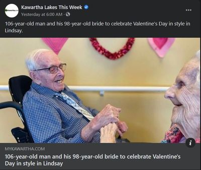 February 13: 106-year-old man and his 98-year-old bride to celebrate Valentine's Day in style in Lindsay