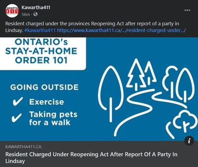 February 16: Resident charged under Reopening Ontario Act after report of a party in Lindsay