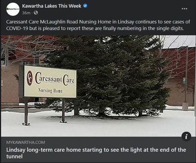 February 16: Lindsay long-term care home starting to see light at the end of the tunnel