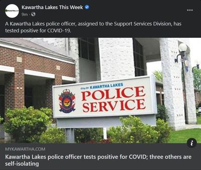 February 16: Kawartha Lakes police officer tests positive for COVID; three others are self-isolating