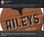 March 1, 2021: Rileys in Bobcaygeon closing due to the uncertainty of the pandemic