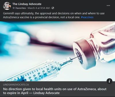 March 4, 2021: No direction given to local health units on use of AstraZeneca, about to expire in April