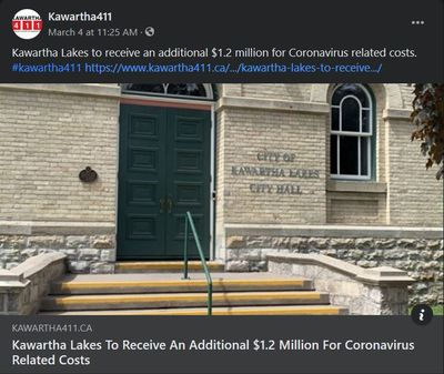 March 4, 2021: Kawartha Lakes to receive an additional $1.2 million for coronavirus related costs