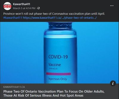 March 5, 2021: Phase Two of Ontario vaccination plan to focus on older adults, those at risk of serious illness and hot spot areas