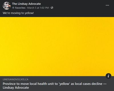 March 5, 2021: Province to move local health unit to 'yellow' as local cases decline