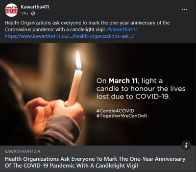 March 9, 2021: Health organizations ask everyone to mark the one-year anniversary of the COVID-19 pandemic with a candlelight vigil