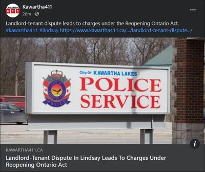 March 10, 2021: Landland-Tenant dispute in Lindsay leads to charges under Reopening Ontario Act