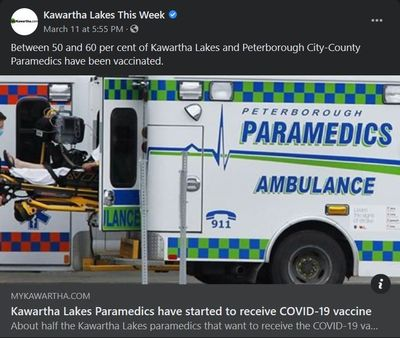 March 10, 2021: Kawartha Lakes paramedics have started to receive COVID-19 vaccine