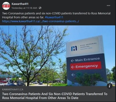 April 8, 2021: Two coronavirus patients and six non-COVID patients transferred to Ross Memorial Hospital from other areas to date