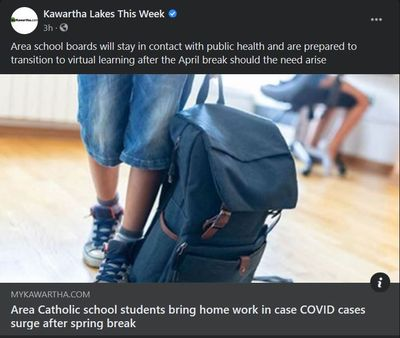 April 8, 2021: Area Catholic school students bring home work in case COVID cases surge after spring break