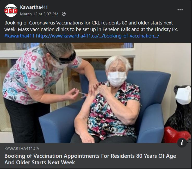 March 12, 2021: Booking of vaccination appointments for residents 80 years of age and older starts next week