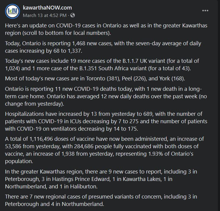 March 13, 2021: Daily COVID Update