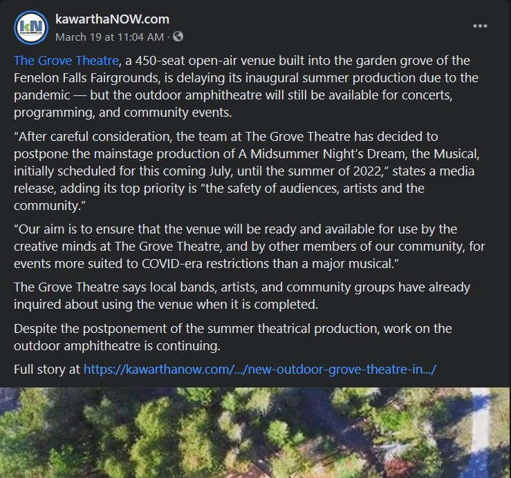 March 19, 2021: New outdoor Grove Theatre in Fenelon Falls postpones inaugural summer production