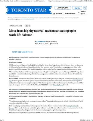 March 22, 2021: Move from big city to small town means a step up in work-life balance