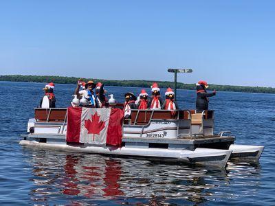 July 16: Santa Day penguins on Balsam Lake