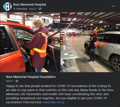 April 1, 2021: COVID-19 vaccinations at the Lindsay Exhibition drive-thru clinic