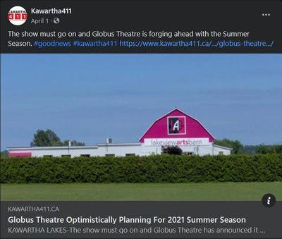 April 1, 2021: Globus Theatre optimistically planning for 2021 Summer Season