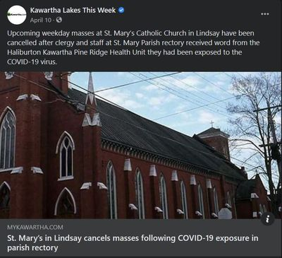 April 10, 2021: St. Mary's in Lindsay cancels masses following COVID-19 exposure in parish rectory