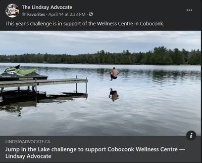 April 14, 2021: Jump in the Lake challenge to support Coboconk Wellness Centre
