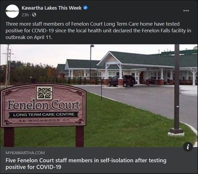 April 20, 2021: Five Fenelon Court staff members in self-isolation after testing positive for COVID-19